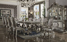 PALAZZO 11 piece Traditional Dining Room Platinum Rectangular Table & Chairs Set