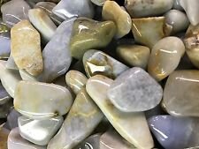 500 Carat Lots of Polished Tumbled Blue Chalcedony + Free Faceted Gemstone