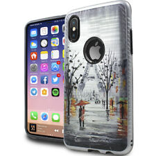For iPhone X - Gloomy Eiffel Tower Paint Hard Hybrid Rubber Protector Skin Case