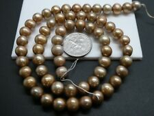 """Freshwater Pearls Champagne Beige Color Almost Round 7mm Beads Strand 16"""""""