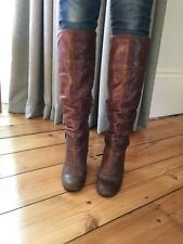 Faith Brown Knee High Leather Boots Size 6. Vintage style