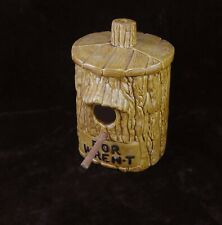 1974 Ceramic Bird House With For Wren-T Sign 6 Inches Tall W/ Perch, Tree House