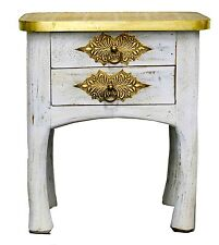 Indian Bedside Cabinet Moroccan Vintage Antique Brass White Lamp Table