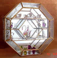Stained Glass & Brass Octagon shaped CURIO CABINET DISPLAY CASE with Frost Trim