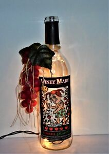 """""""WINEY MARY"""" Label LIGHTED WINE BOTTLE w/RED GRAPES - Night Light HOME DECOR"""