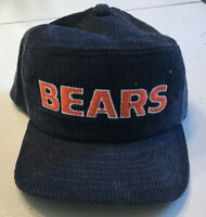 Vintage New Era NFL Chicago Bears Corduroy Snapback Hat Blue Made In USA