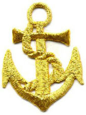 Anchor Shiny Gold Badge Embroidered Patch Sew/Iron on 9cm