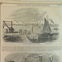 1850's View of Brooklyn, New York/Landing from an Emigrant Ship VTG Etchings