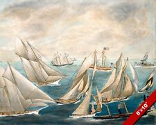 AMERICAS CUP REGATTA WINNERS SAILING 19TH CENTURY PAINTING ART REAL CANVAS PRINT