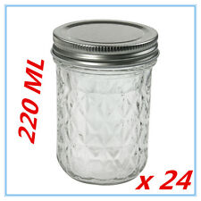 24 x QUILTED CONSERVE JAM CANDLE MAKING GLASS JARS JAR 220ML CANDY EVENT PARTY A