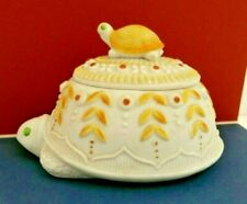 Lefton Turtle Vintage Hand-painted Ceramic Trinket Box No.65A with lid