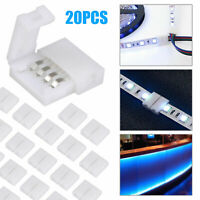 20PCS 4pin Connector Adapter Cable Clip-on Solderless 5050 RGB LED Strip Light