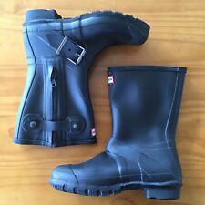 Hunter Boots Original Short Biker Black Rubber Mens 8 Women's 9