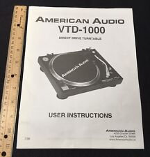 American Audio VTD-1000 Turntable Owners Manual User Instructions