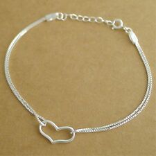 Genuine 925 Sterling Silver Hollow Out Love Heart Bracelet with Double Box Chain