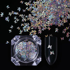 Butterfly Stripe Holographic Nail Paillette Holo Nail Art Sequins Glitter Decor