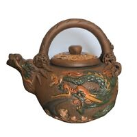 """Yixing Zisha Chinese Pottery Collectible Antique Teapot  Clay Dragon 6 1/2 """"H"""