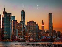 Photography Cityscape New York City USA Moon Over Manhattan Canvas Art Print