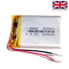 3.7V 600mAh LiPo 1S Polymer Rechargeable Battery: GPS, MP3, Anki Vector - 503040
