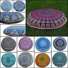 Mandala Design Floor Cushion Cover Cotton Fabric Indian Ethnic Round Handmade