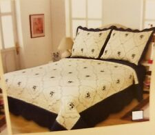 2 Pc Black Floral Quilt Embroidery Bedspread TWIN Size Coverlet Bedding Set New