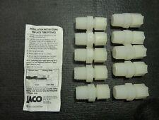 "One Lot of 8 Jaco Nylon Connectors , 3/8"" OD Tube x 1/2"" mpt"