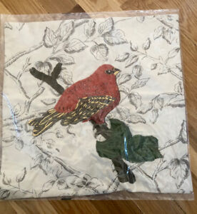 Pottery Barn Decorative Pillow Embroidered Red Bird Button 18X18 NEW