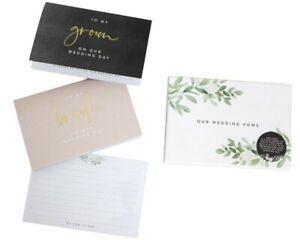 WEDDING VOWS WRITING SET letter cards bride groom books booklets planner gold