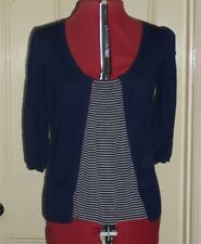 Betty Jackson Black sz 14 navy/black & beige striped cotton 3/4 sleeve jumper