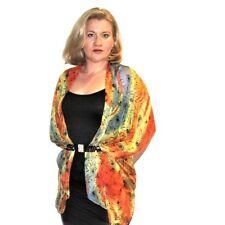 Kimono Cardigan Blazer Open Front Chiffon Top Sheer Jacket Floral Rose Orange