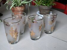 """4 Libbey Frosted Gold Leaf Vintage 1960's Tea/Water Glasses 4⅝"""" T 3"""" W"""
