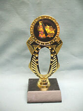 Cheerleading trophy black and gold jeweled with black wood base