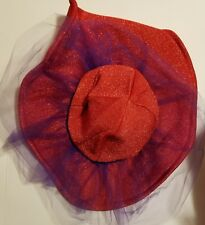 🤶CRUSHABLE RED AND PURPLE HAT LARGE BRIM LADIES OF SOCIETY 👩🎨   H-5 #12 dr