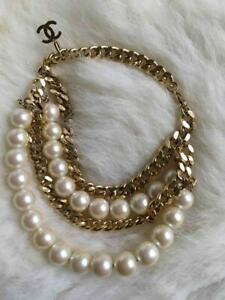 CHANEL PEARL & GOLD TONE CHAIN ANKLE STRAPS CHAIN BRACELET, C 2002, HARD TO FIND