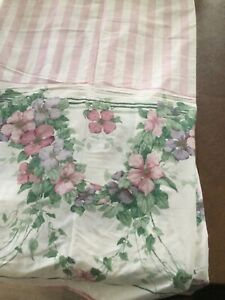 Sanderson Pink Stripe/Floral Top Flat Sheet,King Size, New Out Of Pkg. 1991