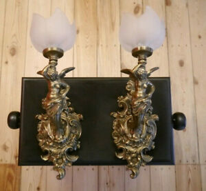 large brass bronze finish sconces female figure wall lamps satined glass lights
