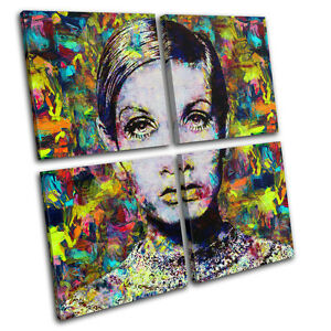Twiggy Model Pop Iconic Celebrities MULTI CANVAS WALL ART Picture Print