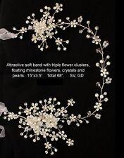 Silver Gold Rhinestone Floral Bridal Prom Quinceanera Ribbon Headband Wired Vine