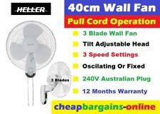 HELLER WALL FAN 40cm WALL MOUNT 3 Blades 3 Speed FIXED OR OSCILLATING PULL CORD