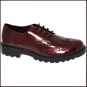 Super Geox Teen Girls Ladies Burgundy Red Casey Patent Leather Brogues Size 5 BN
