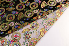 "28"" JAPANESE UPHOLSTERY / KIMONO DAMASK BROCADE FABRIC: GOLD LUCKY RING & FANS"