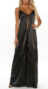 Sexy Black Satin Open slit front Full Length Long Night Gown Cami dress S NEW