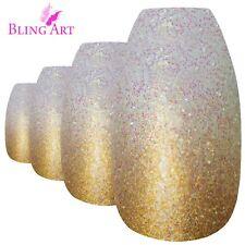 False Nails Gold Gel Ombre Ballerina Coffin Bling Art 24 Fake Tips 2g Glue