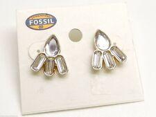 Fossil Crystal Fan Studs Earrings Goldtone Crystal New! NWT