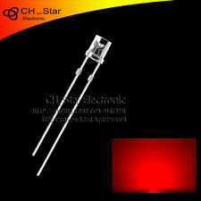 100PCS 5mm Flat Top LED Diodes Water Clear Transparent Red Light Wide Angle