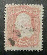 1867 US S#88 3c Washington, rose Used F-VF Lite Cancel