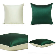 """Green Off White Cover Cushion Both Pillow Sides Case Silk Throw Sofa Square 18"""""""