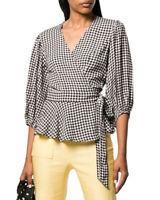 Ganni 3/4-Sleeve Wrap Gingham Print Shirt Women's  36