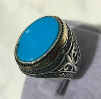 Turkish Handmade Jewelry 925 Sterling Silver Turquoise Men's Ring Size 8,9,10