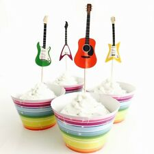🎸12x Guitar Music Cupcake Topper + Wrapper. Party Supplies Lolly Loot Bag Cake